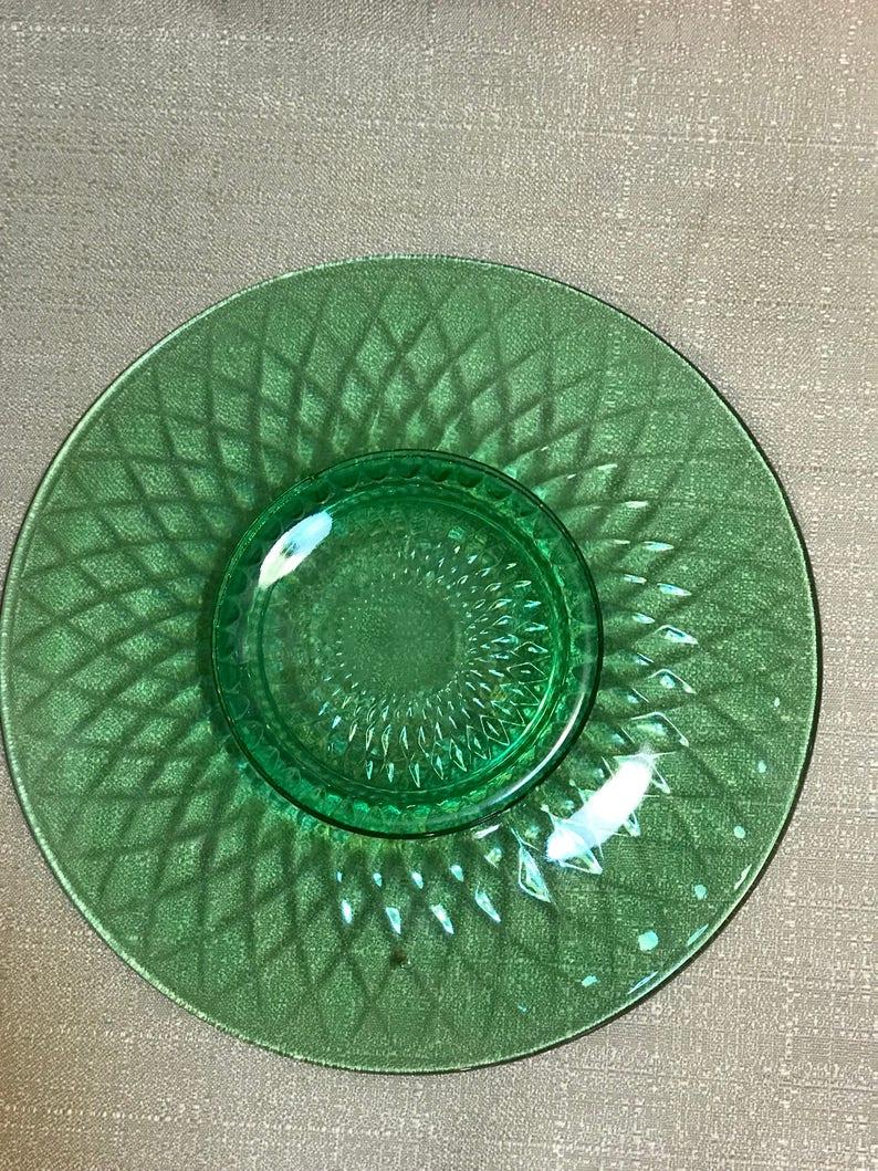 Green Depression Glass Plate 10\u201d