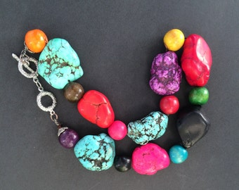 Red Coral and Turquoise Chunky Multicolor Heavy Necklace