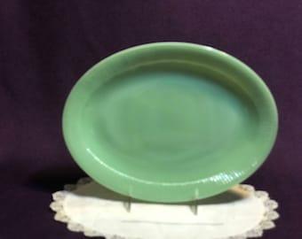 "Jadeite Green Fire King Jane Ray Platter 12"""