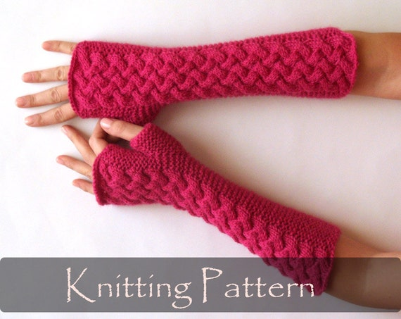 Knitting Pattern Cable Fingerless Gloves Knit Pattern Arm Etsy