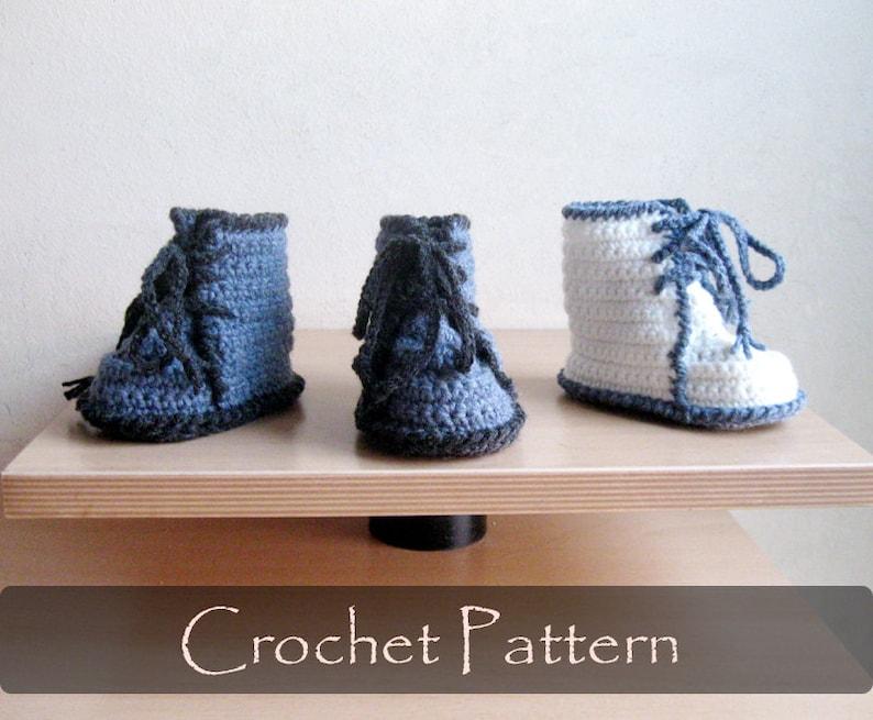 CROCHET PATTERN  Dr Martens Baby Booties Crochet Pattern Baby image 0