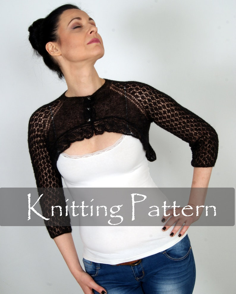 KNITTING PATTERN  Cobweb Knit Shrug Lace Bolero Wedding Wrap image 0