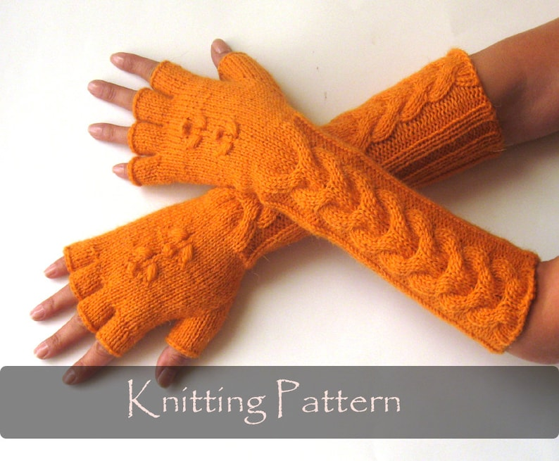 KNITTING PATTERN  Knit Mittens Pattern Cable Fingerless image 0