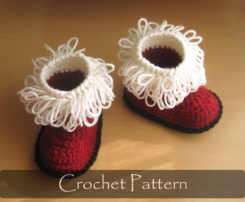 CROCHET PATTERN  Santas Toddler Booties Boots Crochet Pattern image 0