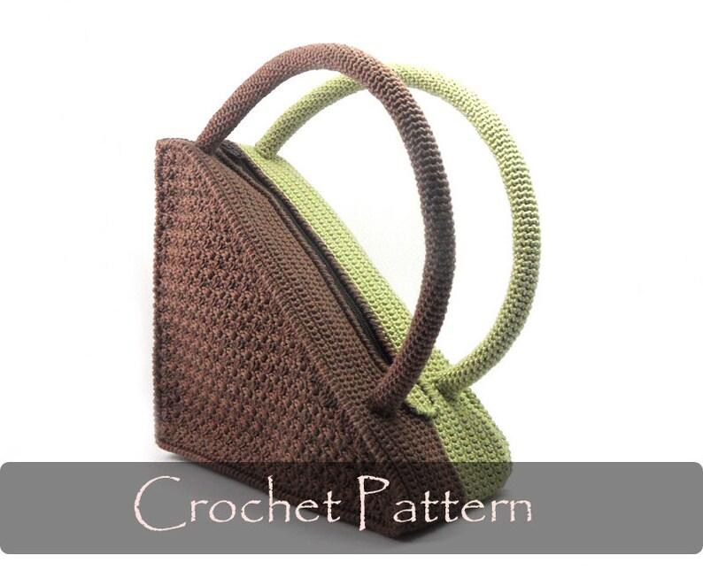 CROCHET PATTERN  Crochet Pattern Bag Pattern Unique Triangle image 0