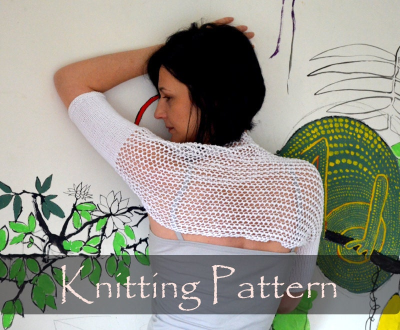 KNITTING PATTERN Lace Knit Shrug Pattern Summer Bolero Mesh