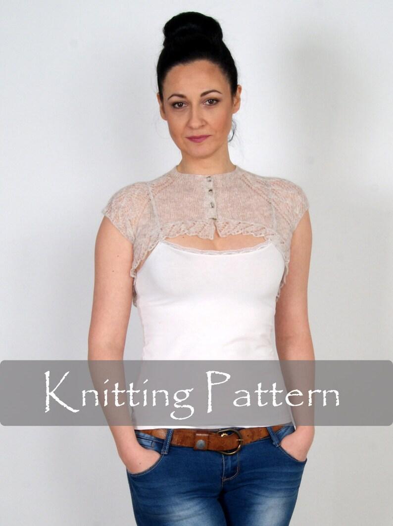 KNITTING PATTERN  Cobweb Knit Shrug Lace Bolero Wedding Wrap image 0