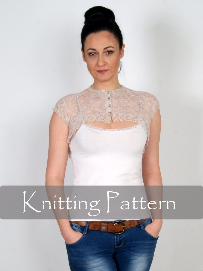 KNITTING PATTERN - Cobweb Knit Shrug Lace Bolero Wedding Wrap Bridal ...