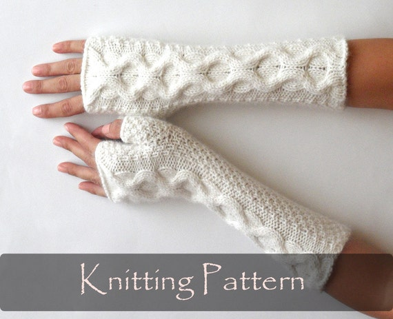 Knitting Pattern Knit Fingerless Mittens Cable Fingerless Etsy