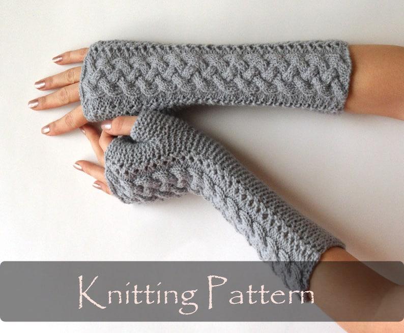 KNITTING PATTERN  Braided Knit Pattern Fingerless Gloves image 0