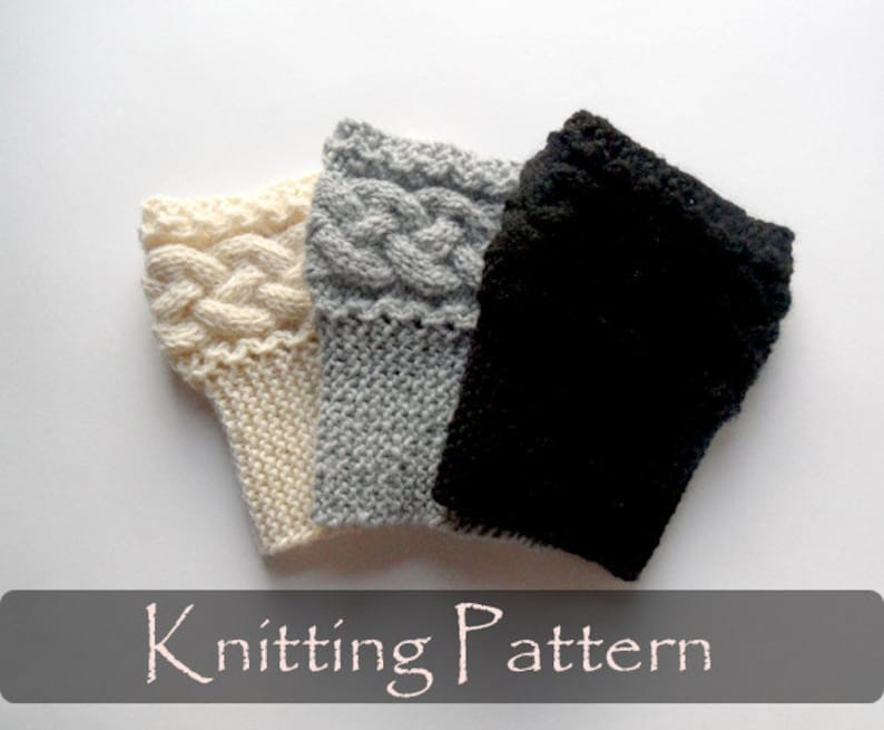 KNITTING PATTERN  Braided Boot Cuffs Cable Knit Boot Toppers image 0
