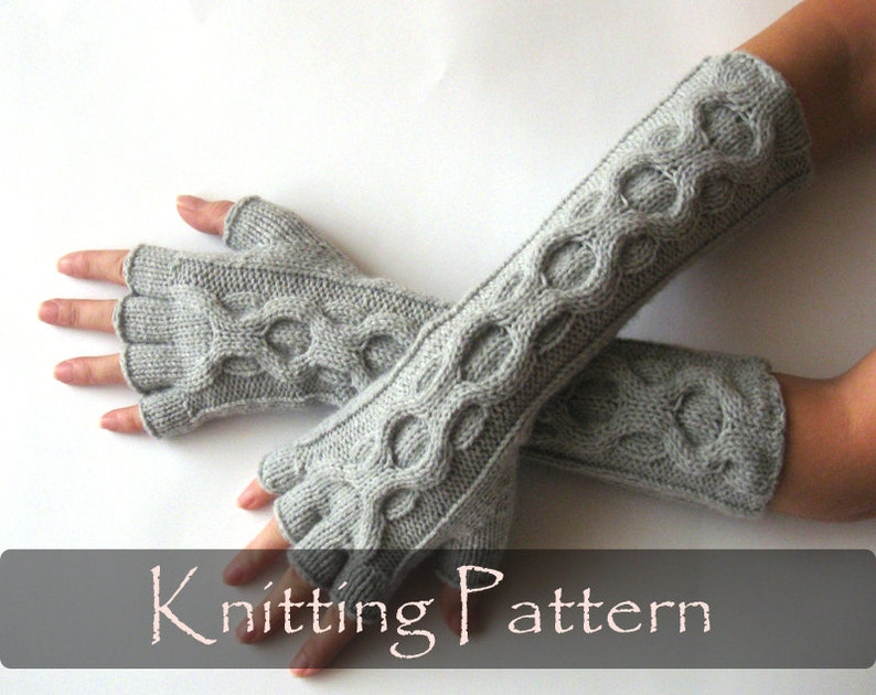 KNITTING PATTERN  Knit Gloves Pattern Inverted Cable image 0
