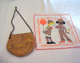 vintage Brownie Girl Scout purse & handkerchef