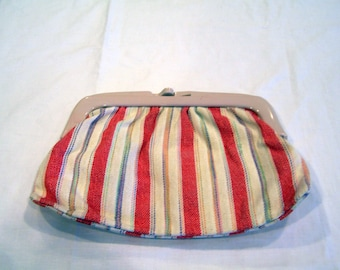 Red & white striped clutch/purse, made in Italy