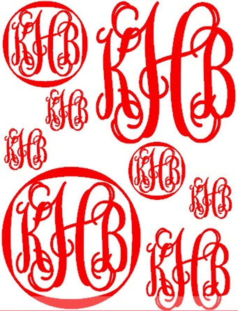 8 Monogram Car Decals Variety of Full Page Personalized Initial Decals