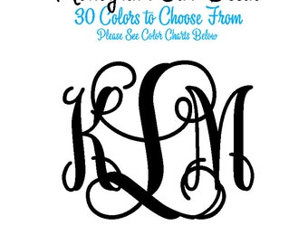 Decal - Monogram Car Decal - Personalized Laptop Decal - IPAD Monogram - Custom Sticker Monogram - Tablet Monogram - Laptop Monogram