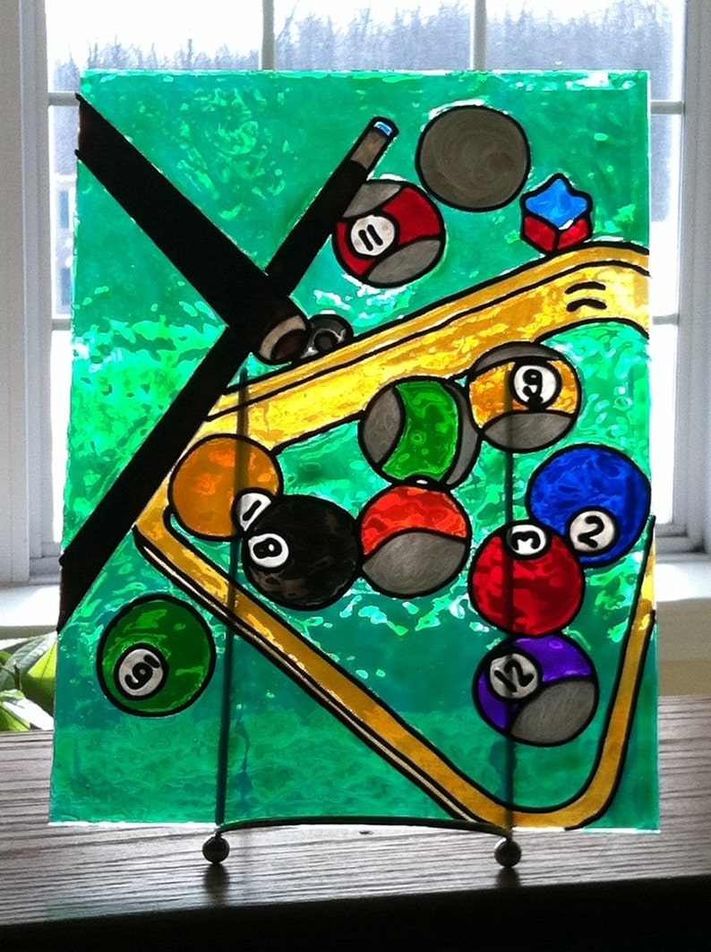 Charmant Faux Stained Glass, Billiards. Painting, Pool Balls, Pool Table, Bar Art,  Man Cave