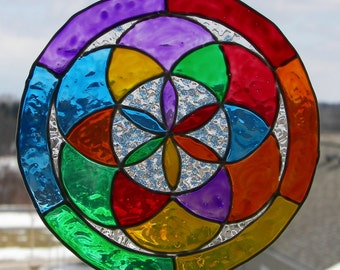 Mandala, Faux Stained Glass, Hand Painted, Flower Of Life, Suncatcher