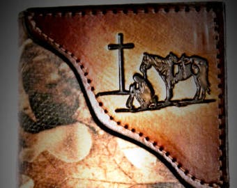 Handcrafted RealTree Camo Leather Trifold with Cowboy at the Cross tooled corner--Personalized Free!!