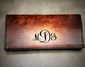 Women 39 s Monogrammed Checkbook Cover, Tooled Leather Checkbook Cover, Monogram Style Initials Engraved Free Made in the USA