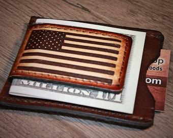 Thin Blue Line Secret Service Silver Base USA Flag Money Clip New