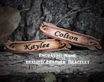 Custom Bracelet, Braided Bracelet,  Personalized Leather Bracelet, (One Bracelet), His or Her Bracelet, Engraved Leather Bracelet
