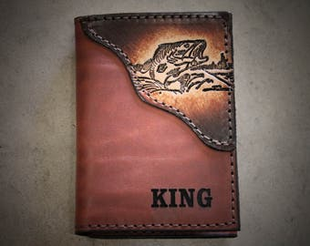 Trifold Fish Wallet, handmade leather wallet, Brown Leather or Camo Leather, Initials or Name Engraved Free! Made in the USA