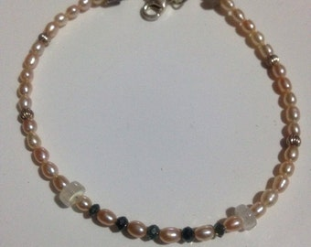 Blue diamond and pearl bracelet with labradorite and moonstone accents