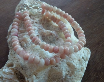 pink opals and sterling silver double beaded bracelet