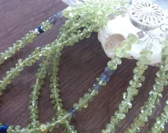 multiple strand peridot and gemstone beaded bracelet