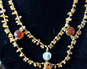 Gold Vermeil Carnelian Moonstone double layered necklace matching earrings and bracelet