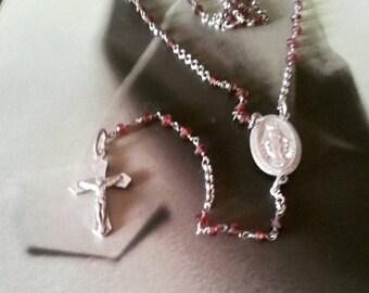 Sterling silver hessonite garnet gemstone rosary