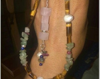 2 in 1 gemstone necklace with removable dangle charm ooak