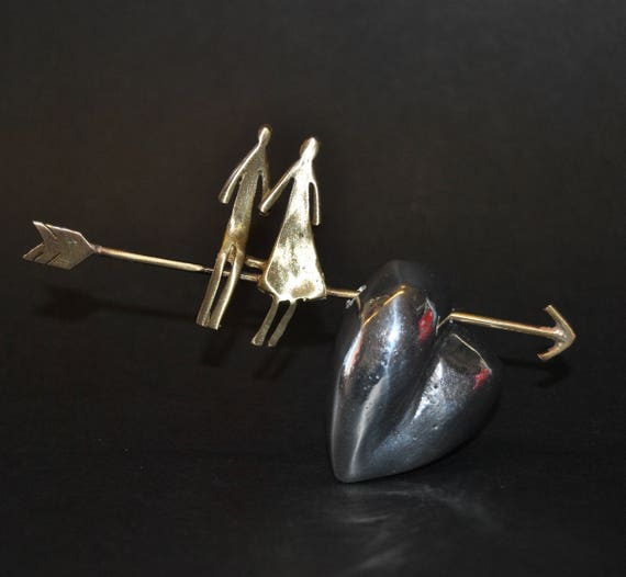 Decoration item, handmade. Aluminum heart and brass figures.