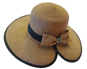 316cdef5 Snaffle Bit Toyo Paper Braid Sun Hat Equestrian Straw Hat Black Ribbon Trim  - Italian Made Black Enamel Gold Bit Button