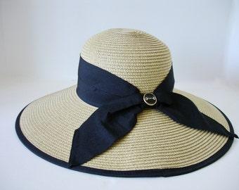 Snaffle Bit Accent Toyo Paper Braid Straw Lampshade Hat w  Color Bow   Edge  - Italian Made Black Enamel Gold Bit Button de50795c4fd2