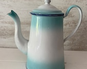 Vintage French Enamel Stove Top coffee pot, gorgeous faded blues.