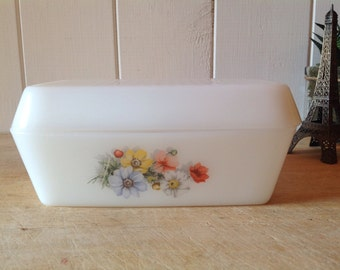 Arcopal butter dish etsy vintage french arcopal milk glass butter dish with pretty flowers mightylinksfo