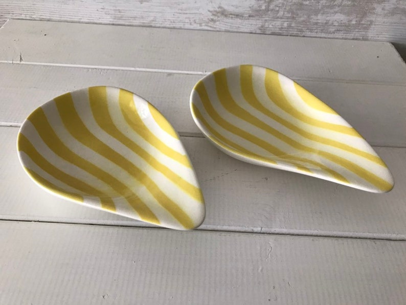 1960s Ceramic dishes Pair Vintage French Tear Drop Shape dishes with bold lemon Yellow Stripe Design by Salins France