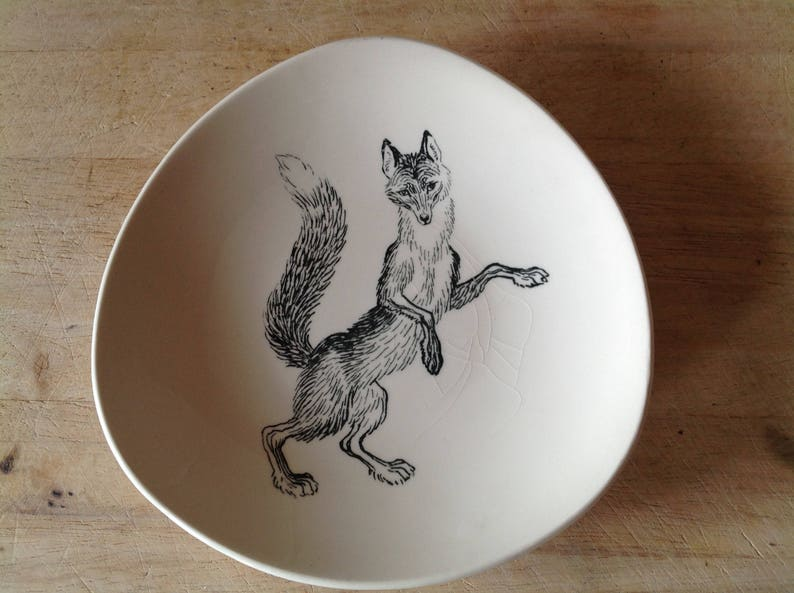 By Ridley Borchgrevink Vintage Plate 1960s Stavangerflint Animals of Norway the fox Mid Century Design