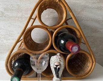 Vintage Bamboo Wine Rack, Boho Vintage Wine Rack, Bottle Holder, Bamboo Vintage, Vintage Kitchen, Vintage wicker Wine rack, Wine Carrier
