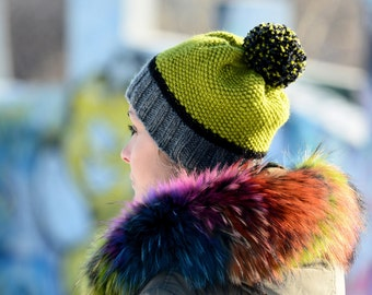 42b3a3784df FREE SHIPPING Hand Knitted Hat Chunky Wool Pom Pom Green Multicolor  Designer Gray Black Winter Soft Hat Fashion Gift by EXTRAVAGANTZA