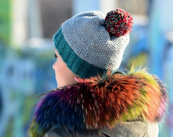 253ca132cfe FREE SHIPPING Hand Knitted Hat Chunky Wool Red Pom Pom Grey Multicolor  Designer Blue Winter Soft Winter Hat Warmer by EXTRAVAGANTZA