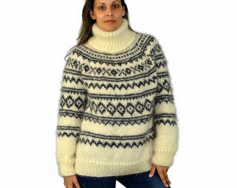 MADE to ORDER Hand Knit Mohair Sweater ICELANDIC Norwegian White Gray Fuzzy  Turtleneck Jumper Pullover Jersey 57819abfc
