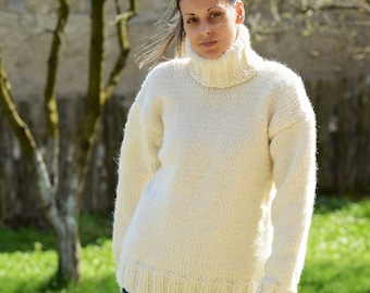 bf6769ca376 Hand Knitted pure Wool Sweater White Soft Turtleneck Jumper Pullover Jersey  by EXTRAVAGANTZA   MADE to ORDER