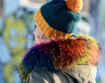 117875c9a50 FREE SHIPPING Hand Knitted Hat Chunky Wool Green Yellow Pom Pom Multicolor  Designer Winter Soft Winter Hat Head Warmer by EXTRAVAGANTZA