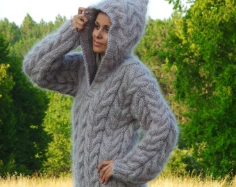 Extra Thick Hand Knit Sweater Mohair GRAY Color Fuzzy Jumper Hooded Jersey MADE to ORDER