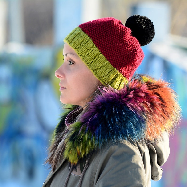 FREE SHIPPING Hand Knitted Hat Chunky Wool Red Pom Pom Grey Multicolor Designer Blue Winter Soft Winter Hat Warmer by EXTRAVAGANTZA
