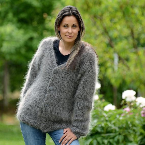 ec73fd1887ea1 Hand Knit Mohair Cardigan GRAY Fuzzy Coat Jumper Jersey Jacket
