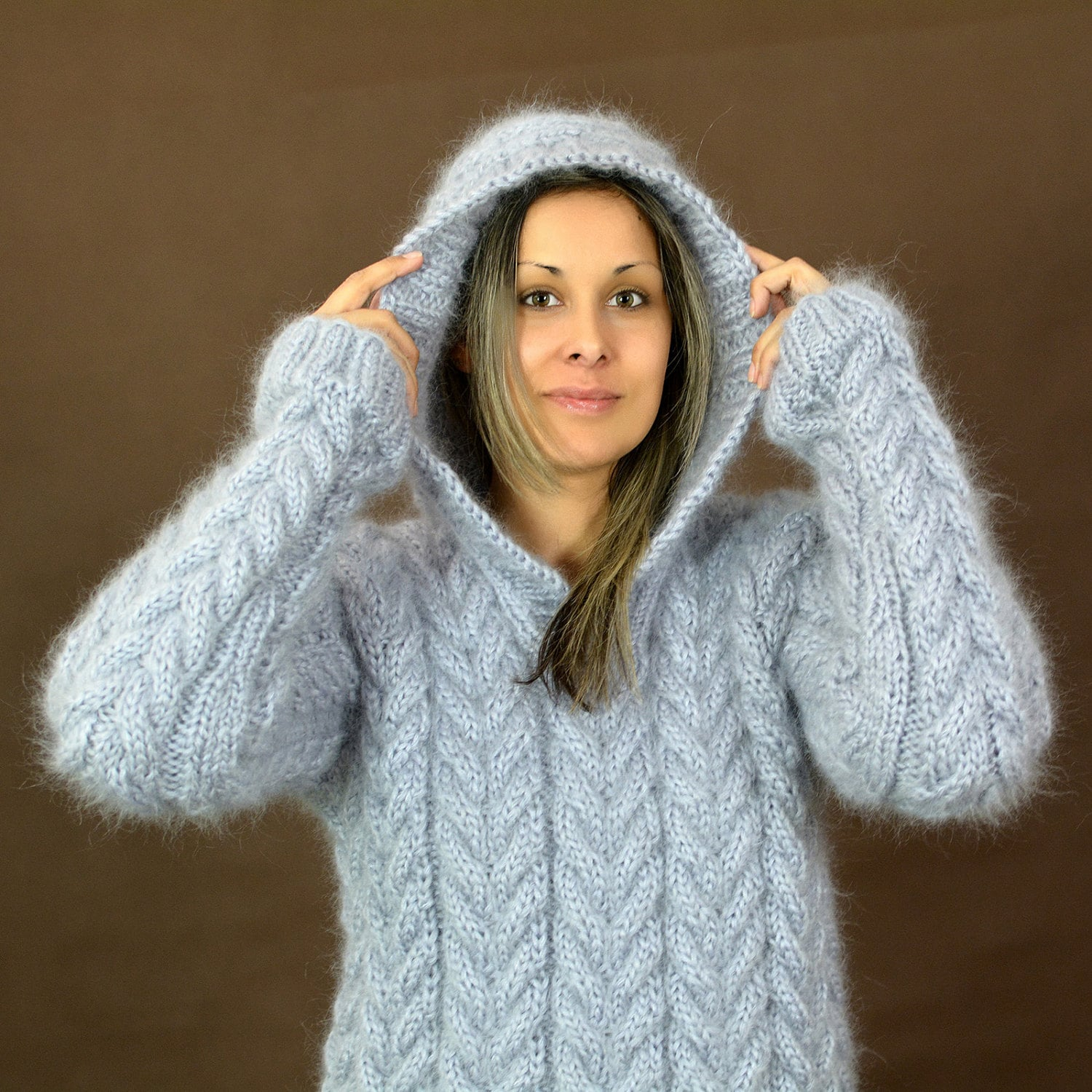 New Hand Knit Mohair Sweater Cable Light Grey Fuzzy Hooded Jersey